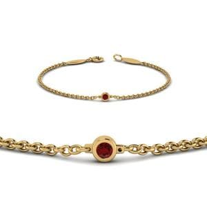 Ruby Yellow Gold Chain Bracelet