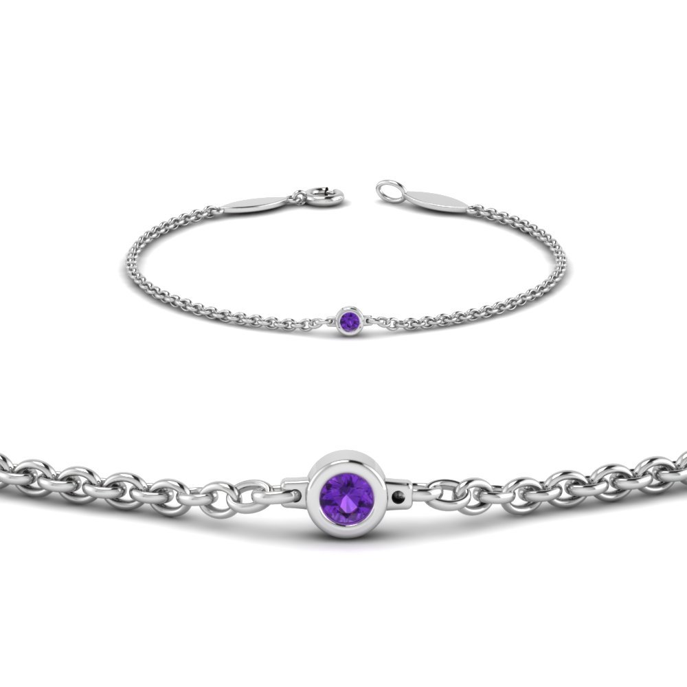 Platinum Purple Topaz Chain Bracelet