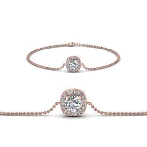 Single Halo Round Diamond Bracelet In 18K Rose Gold