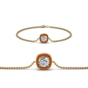 Single Halo Round Diamond Bracelet With Orange Sapphire In 14K Yellow Gold