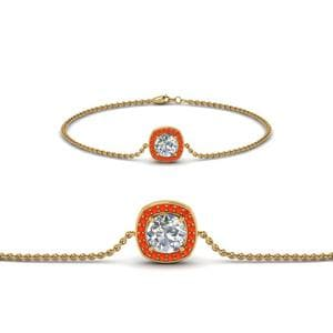 Orange Topaz Halo Diamond Bracelet
