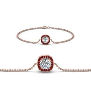 Single Halo Diamond Ruby Bracelet