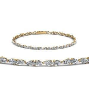 Single line Pear Shaped Diamond Bracelet