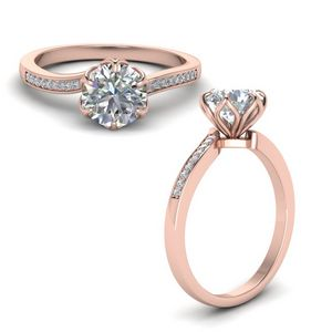 Six Prong Floral Diamond Engagement Ring In 14K Rose Gold