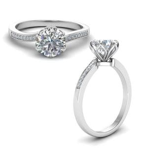 Six Prong Floral Diamond Engagement Ring In 18K White Gold