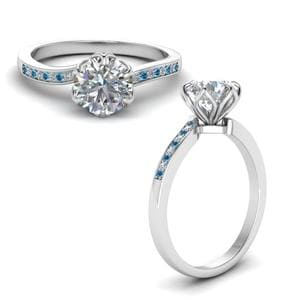 Six Prong Floral Diamond Engagement Ring With Blue Topaz In 950 Platinum