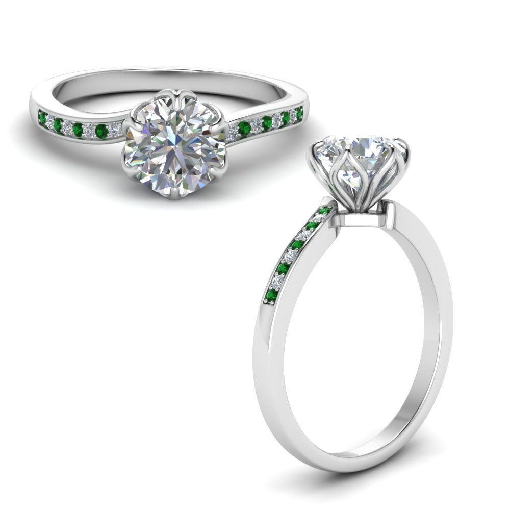 Six Prong Floral Diamond Engagement Ring With Emerald In 18K White Gold