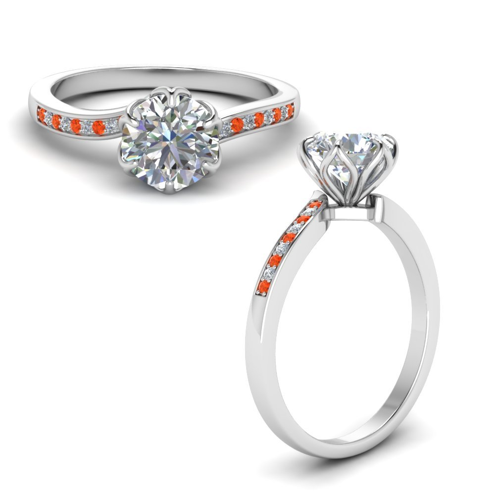 Six Prong Floral Diamond Engagement Ring With Orange Topaz In 14K White Gold