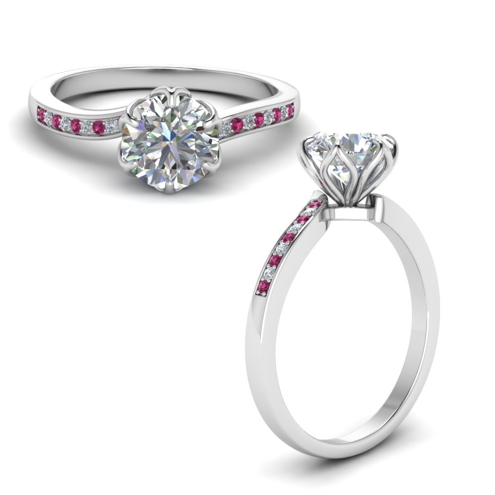 Six Prong Floral Diamond Engagement Ring With Pink Sapphire In 14K White Gold