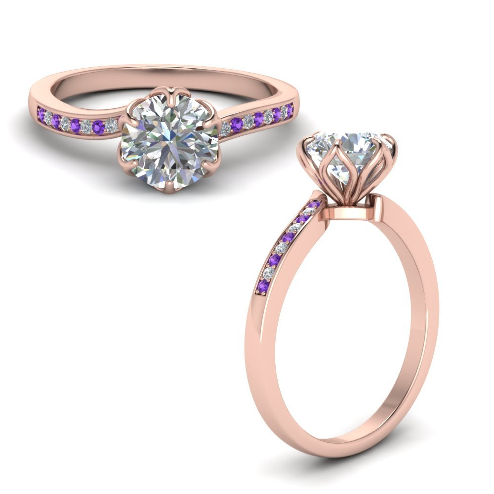 Six Prong Floral Diamond Engagement Ring With Purple Topaz In 14K Rose Gold