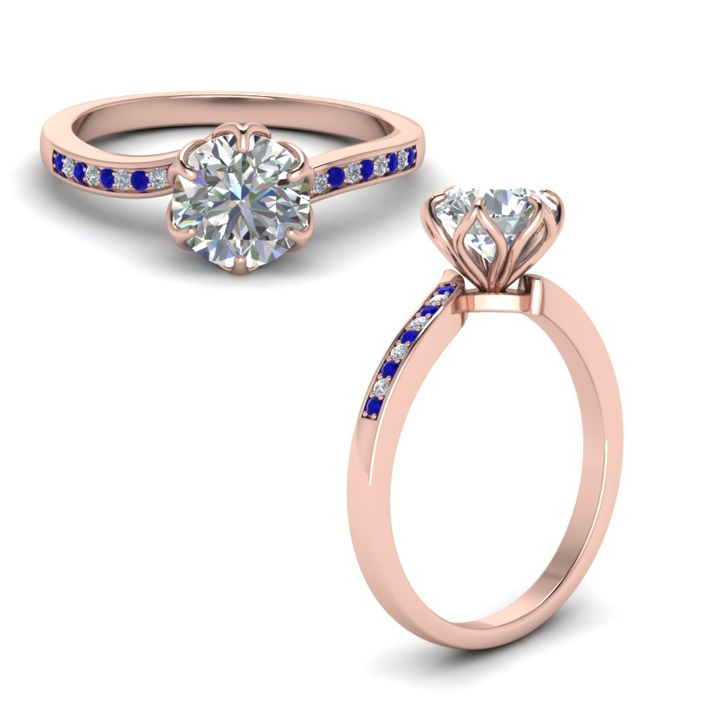 Six Prong Floral Diamond Engagement Ring With Sapphire In 14K Rose Gold