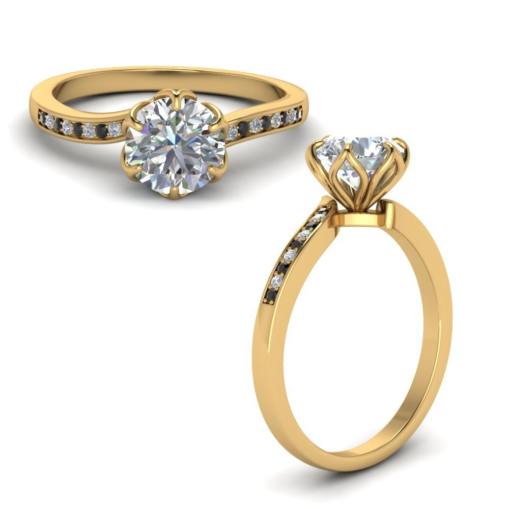 Six Prong Floral Engagement Ring With Black Diamond In 18K Yellow Gold