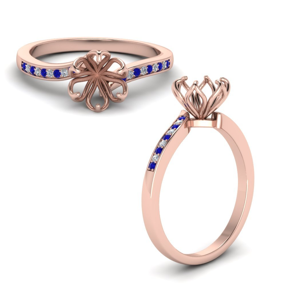 Six Prong Floral Diamond Engagement Ring With Sapphire In 18K Rose Gold