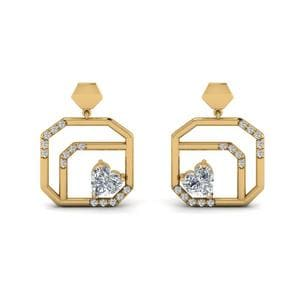 Small Diamond Stud Drop Earring In 14K Yellow Gold
