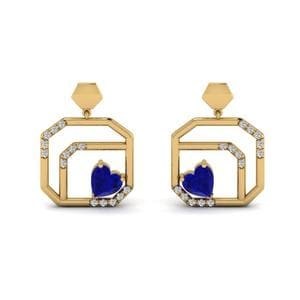 Yellow Gold Sapphire Stud Earring