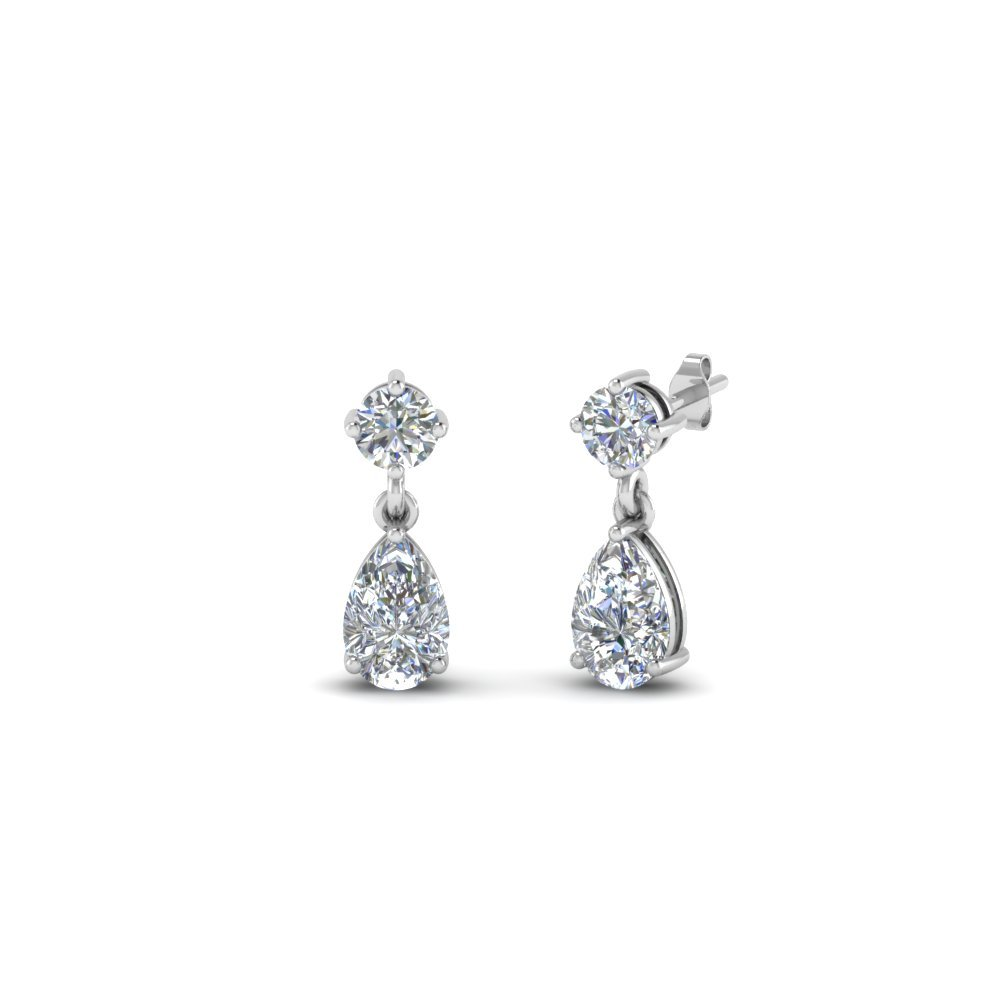 Small Teardrop Kids Diamond Earring In 14K White Gold