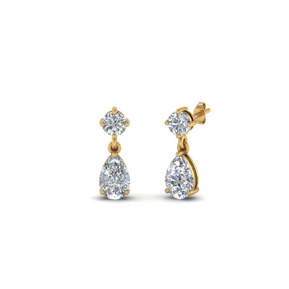 Small Teardrop Kids Diamond Earring In 14K Yellow Gold