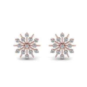 Snowflake Diamond Gift Earring In 14K Rose Gold