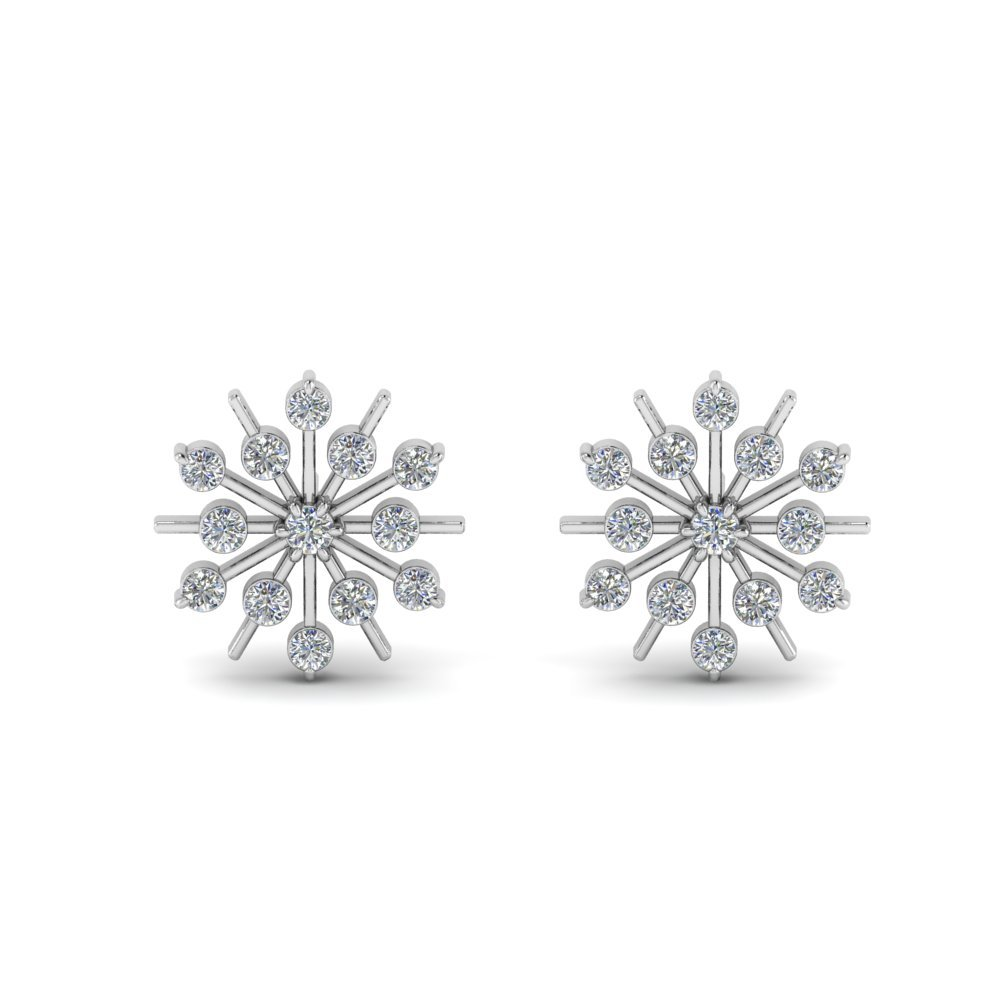 Snowflake Diamond Gift Earring In 14K White Gold
