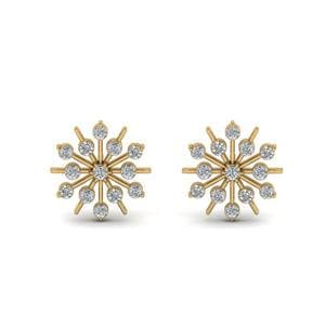 Snowflake Diamond Gift Earring In 14K Yellow Gold