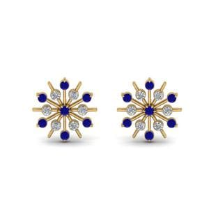 Snowflake Diamond Gift Earring With Sapphire In 14K Yellow Gold