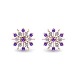 Snowflake Purple Topaz Earring