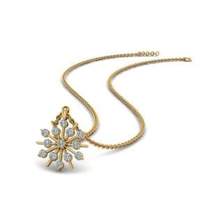Snowflake Diamond Pendant In 14K Yellow Gold