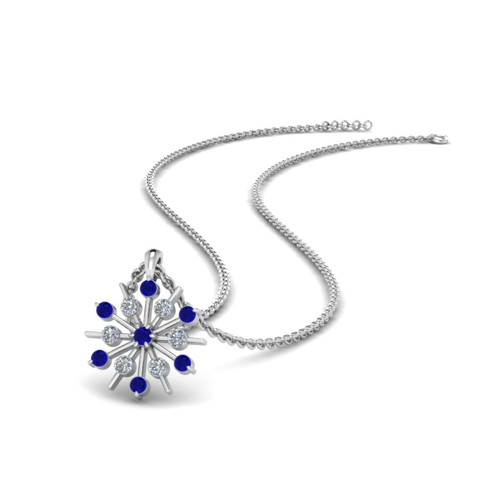 Snowflake Diamond Pendant With Sapphire In 14K White Gold