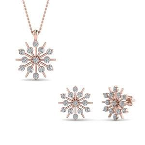 Snowflake Earring And Pendant Set Sale In 14K Rose Gold
