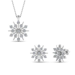 Snowflake Earring And Pendant Set Sale In 14K White Gold