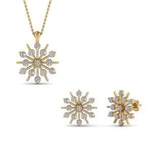 14K Yellow Gold Snowflake Earring And Pendant