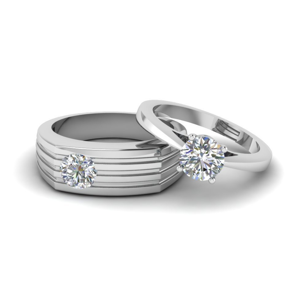 Solitaire Matching Wedding Ring Set