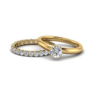 Solitaire Eternity Bridal Set In 14K Yellow Gold