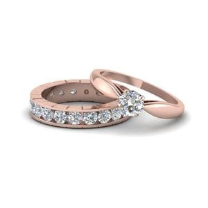 Solitaire With Eternity Diamond Wedding Ring Set In 14K Rose Gold