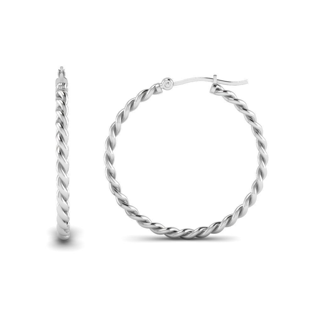 Twisted Rope Hoop Earring In 18K White Gold