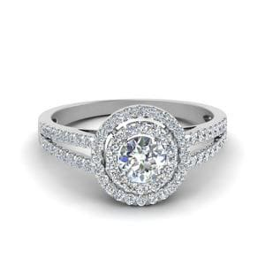 Split Round Cut Double Halo Diamond Engagement Ring In 14K White Gold