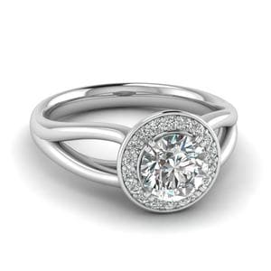 Split Shank 0.75 Carat Diamond Engagement Ring In 14K White Gold