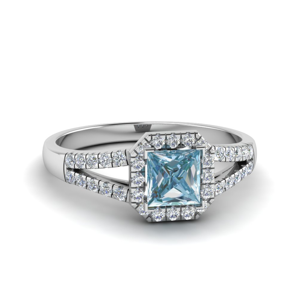 Split Shank Square Aquamarine Halo Ring