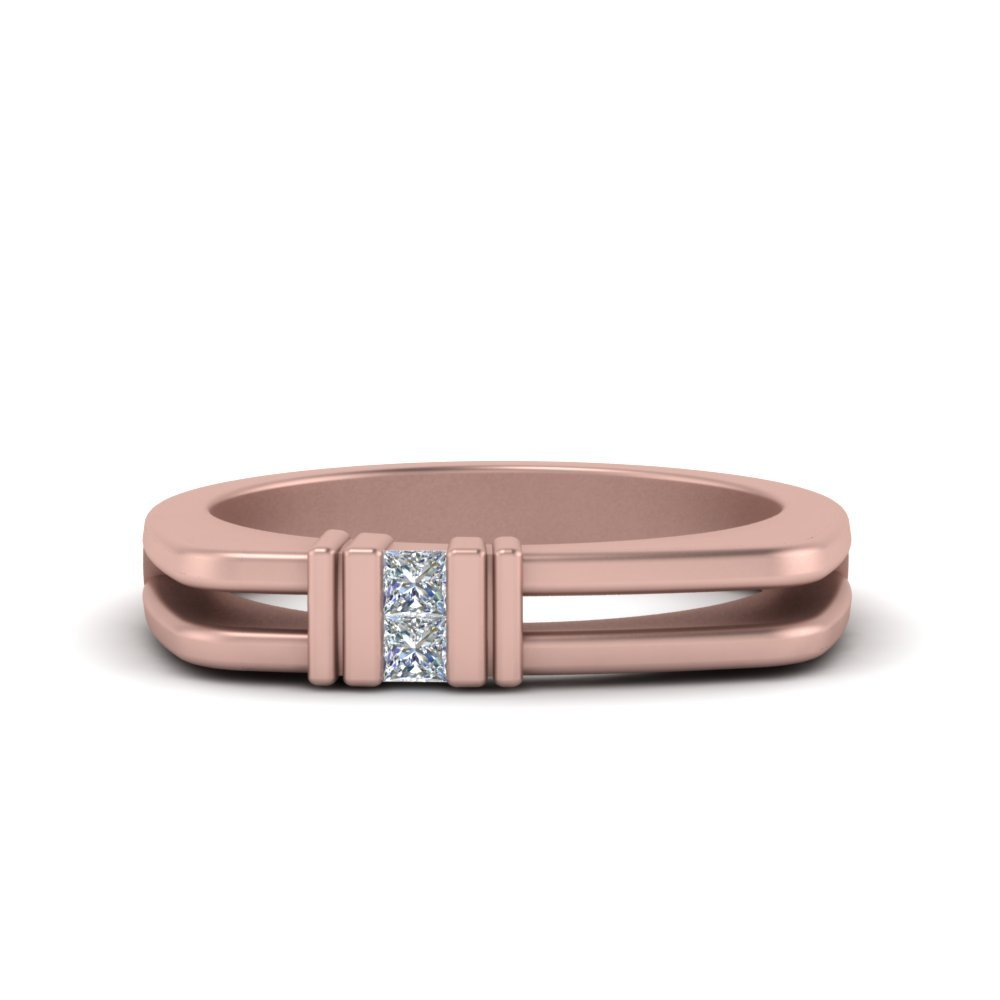 Square Comfort Fit 2 Stone Diamond Band