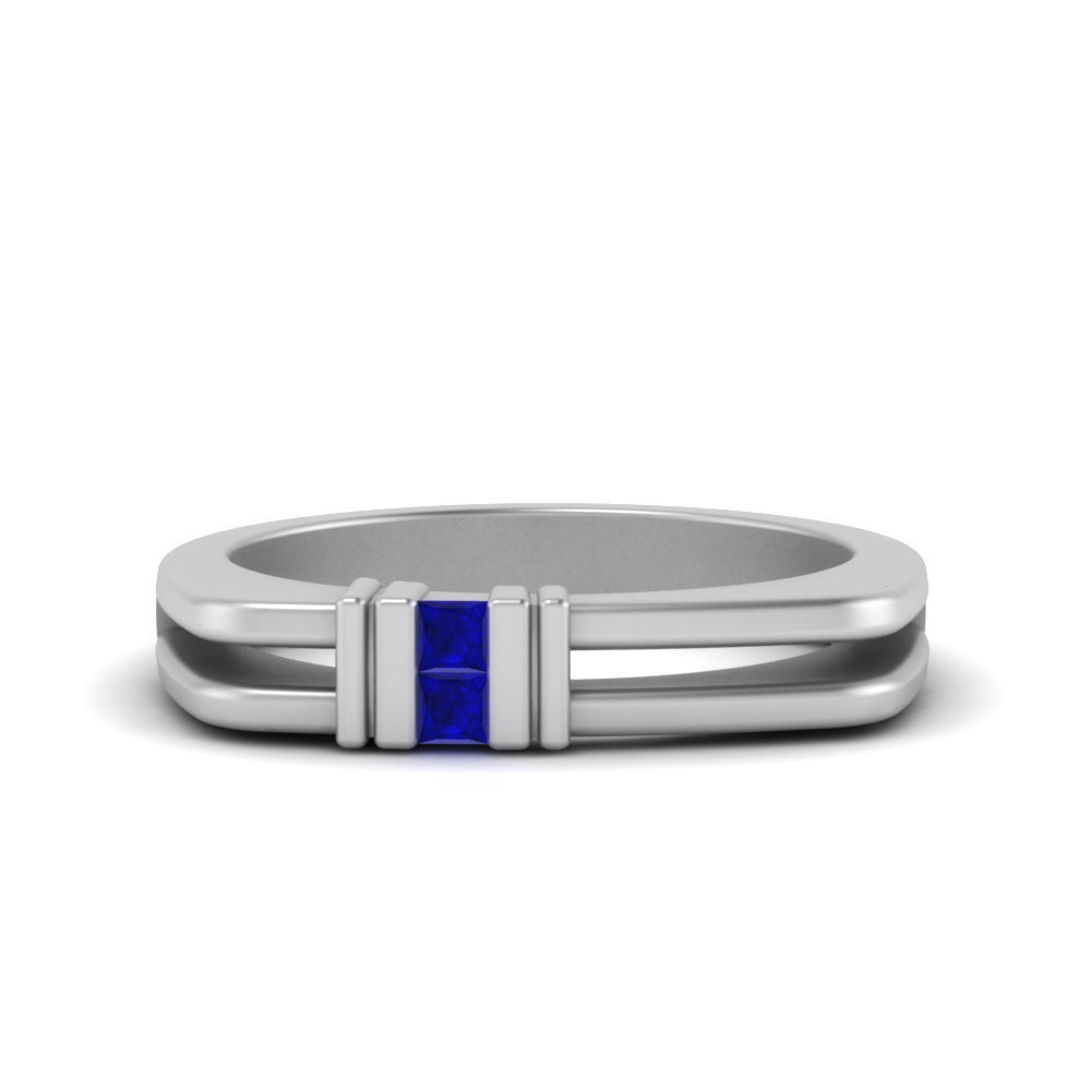 square comfort fit 2 stone sapphire band