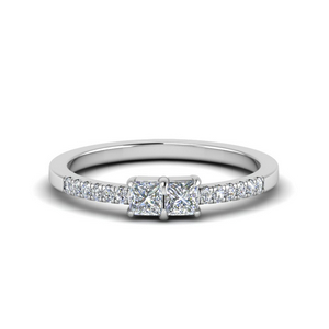 Square Diamond Two Stone Engagement Ring