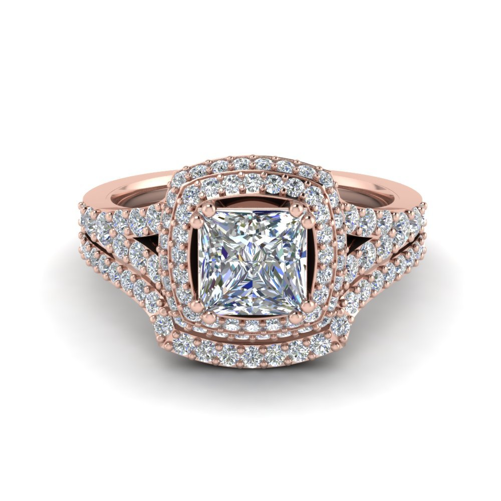 Square Double Halo Diamond Wedding Ring Set In 14K Rose Gold