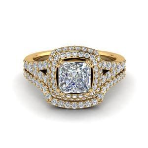 Square Double Halo Diamond Wedding Ring Set In 18K Yellow Gold