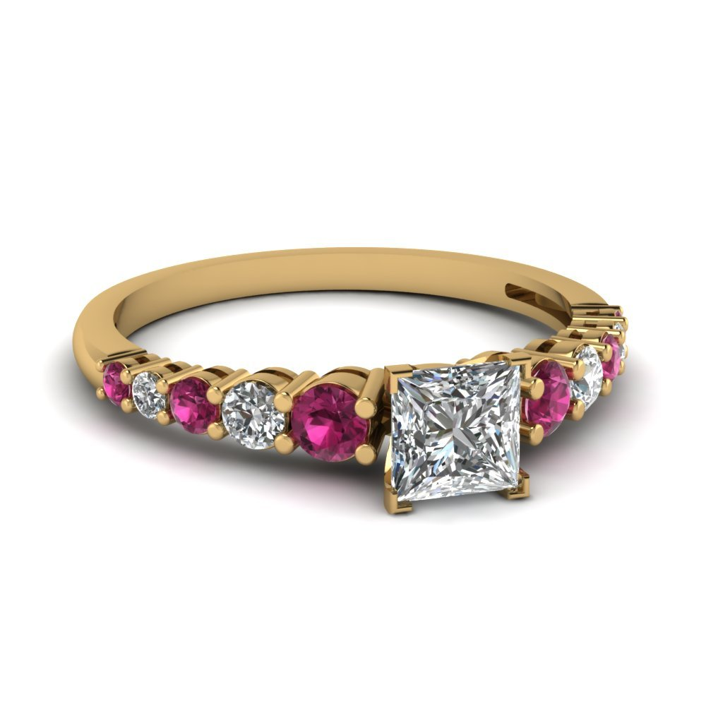 Square Graduated Diamond Mother Ring With Pink Sapphire In 14K Yellow Gold