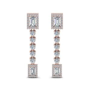 14K Rose Gold Halo Diamond Drop Earring