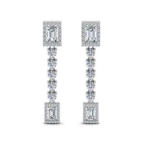 Square Halo Diamond Drop Earring In 14K White Gold