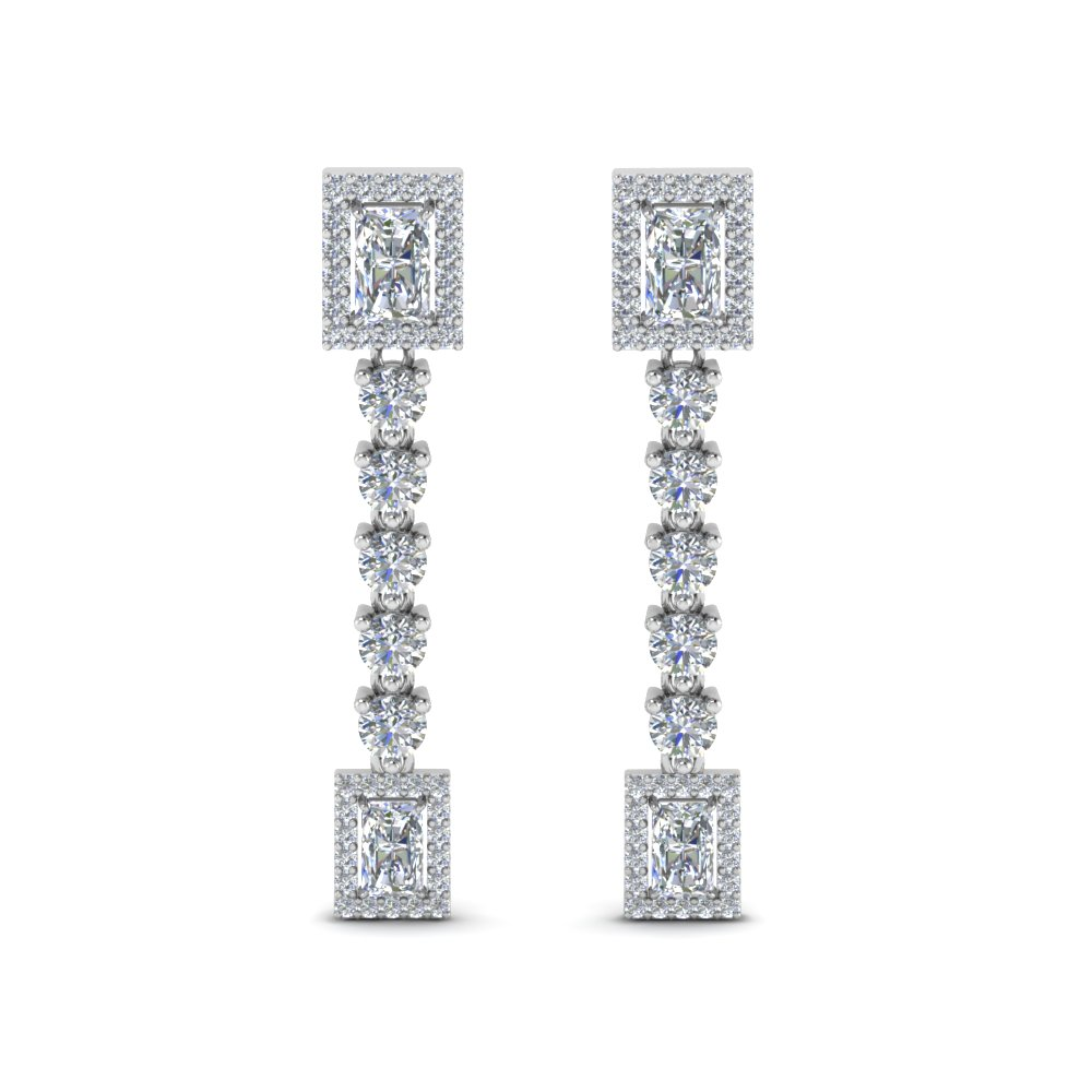 Square Halo Diamond Drop Earring In 18K White Gold