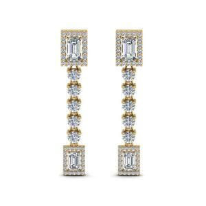 14K Yellow Gold Halo Diamond Drop Earring