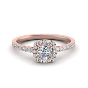 14K Rose Gold Round Diamond Halo Ring
