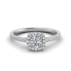 14K White Gold French Pave Diamond Ring